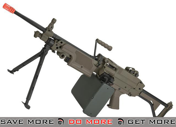 A&K M249 MK-I Full Metal SAW Airsoft AEG with Electric Drum Magazine (Tan) M60 / M249 / MK46 / M240- ModernAirsoft.com