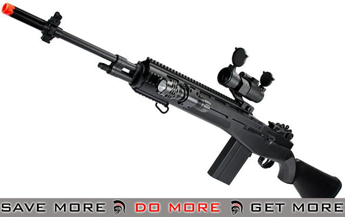 AGM Black M14 Full Size Airsoft Spring Powered Sniper Rifle with Red Dot & Flashlight