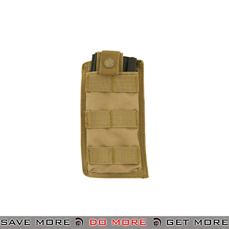 Lancer Tactical Single Snap Closure M4 / M16 Magazine Shingle Pouch CA-1514TN - Tan Ammo Pouches- ModernAirsoft.com