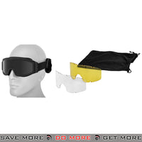 Lancer Tactical Airsoft Basic Safety Goggles w/ 3 Lenses CA-203B - Black Head - Goggles- ModernAirsoft.com