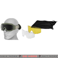 Lancer Tactical Airsoft Basic Safety Goggles w/ 3 Lenses CA-203G - OD Green Head - Goggles- ModernAirsoft.com