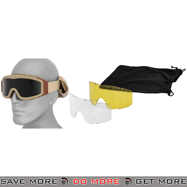 Lancer Tactical Airsoft Basic Safety Goggles w/ 3 Lenses CA-203T - Tan Head - Goggles- ModernAirsoft.com