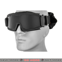 Lancer Tactical Airsoft Stylized Vent Safety Goggles CA-221BB - Black, Smoke Lens Head - Goggles- ModernAirsoft.com