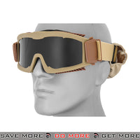 Lancer Tactical Airsoft Stylized Vent Safety Goggles CA-221TB - Tan, Smoke Lens Head - Goggles- ModernAirsoft.com