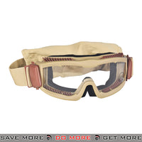 Lancer Tactical Airsoft Stylized Vent Safety Goggles CA-221T - Tan, Clear Lens Head - Goggles- ModernAirsoft.com