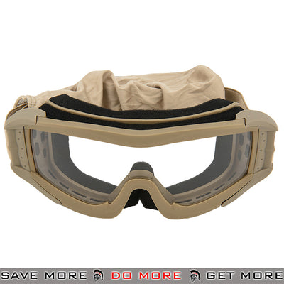 Lancer Tactical Airsoft Polycarbonate Safety Goggles CA-226T - Tan, Clear Lens Head - Goggles- ModernAirsoft.com