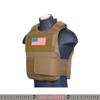 Lancer Tactical Slick Body Armor CA-302TN - Tan plate carrier- ModernAirsoft.com