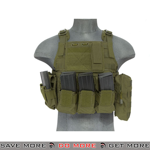 Lancer Tactical Modular Body Armor Carrier Vest w/ Pouches - OD Green plate carrier- ModernAirsoft.com