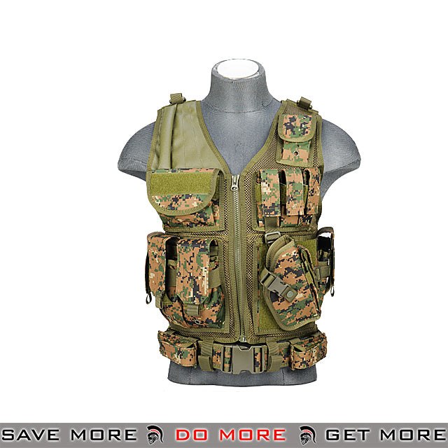 Lancer Tactical Cross Draw Vest - Digital Woodland Vest- ModernAirsoft.com