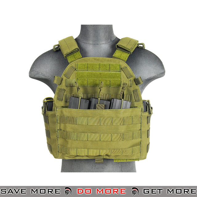 Lancer Tactical 6094 Style Plate Carrier w/ Integrated Pouches - OD Green plate carrier- ModernAirsoft.com