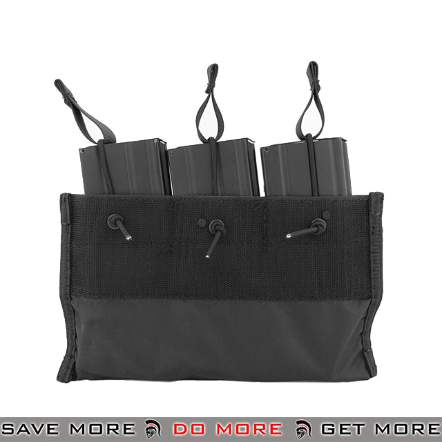 Lancer Tactical Kangaroo Triple Bungee M4 / M16 Magazine Pouch - Black Ammo Pouches- ModernAirsoft.com