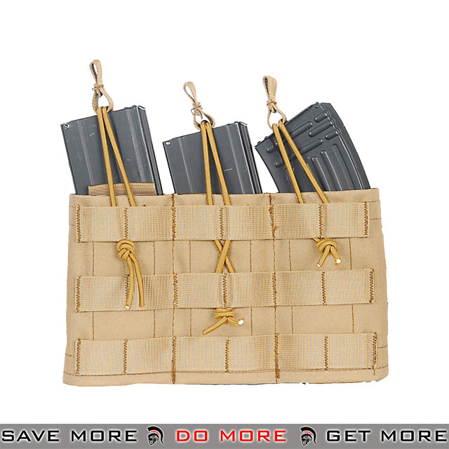 Lancer Tactical Triple Bungee MOLLE Magazine Shingle w/ Height Adjustment - Tan Ammo Pouches- ModernAirsoft.com