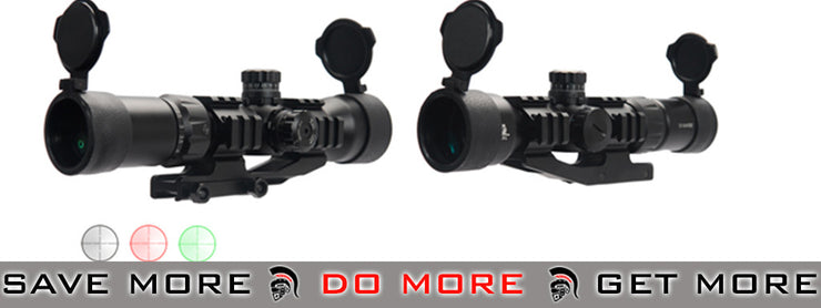 Lancer Tactical 1.5-5x 40mm Tri-Illuminated Rifle Scope w/ Scope Mount Illuminated Scopes- ModernAirsoft.com