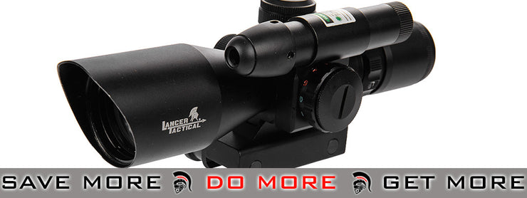 Lancer Tactical 2.5-10x 40mm Red & Green Dual Illuminated Rifle Scope w/ Green Laser Illuminated Scopes- ModernAirsoft.com