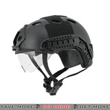 Lancer Tactical PJ Type Bump Helmet w/ Retractable Visor - Black Head - Helmets- ModernAirsoft.com