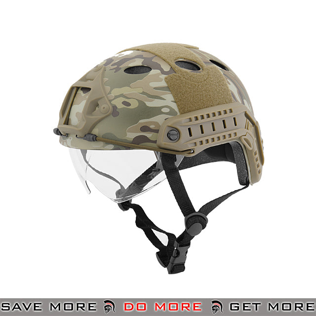 Lancer Tactical PJ Type Bump Helmet w/ Retractable Visor - Multicam Head - Helmets- ModernAirsoft.com