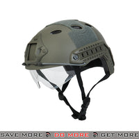 Lancer Tactical PJ Type Bump Helmet w/ Retractable Visor - Foliage Green Head - Helmets- ModernAirsoft.com