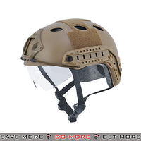 Lancer Tactical PJ Type Bump Helmet w/ Retractable Visor - Dark Earth Head - Helmets- ModernAirsoft.com