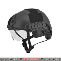 Lancer Tactical Ballistic Type Bump Helmet w/ Retractable Visor - Black Head - Helmets- ModernAirsoft.com