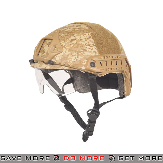 Lancer Tactical Ballistic Type Bump Helmet w/ Retractable Visor - Digital Desert Head - Helmets- ModernAirsoft.com
