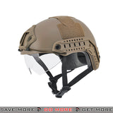 Lancer Tactical Ballistic Type Bump Helmet w/ Retractable Visor - Dark Earth Head - Helmets- ModernAirsoft.com