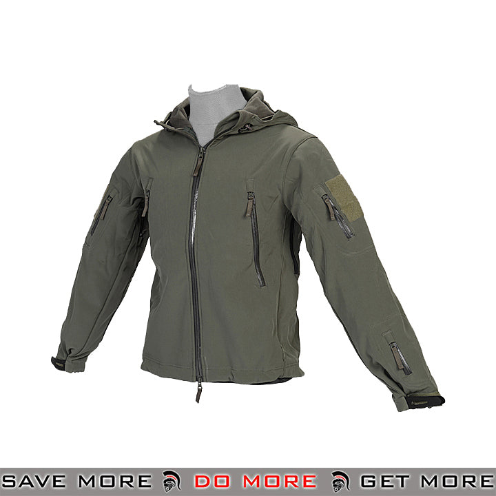 Lancer Tactical Hooded Soft Shell Jacket CA-781GL - OD Green, Large Jackets / Sweaters / Hoodies- ModernAirsoft.com