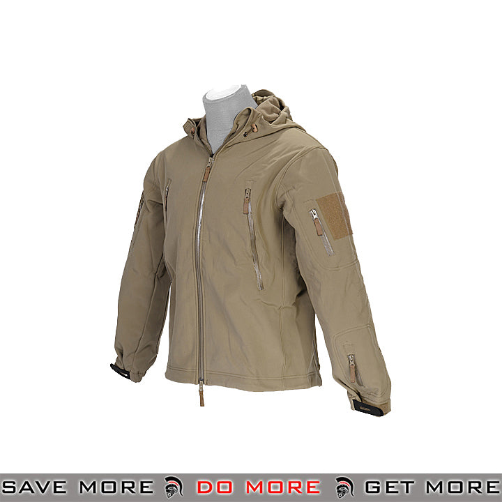 Lancer Tactical Hooded Soft Shell Jacket CA-782GS - Tan, Small Jackets / Sweaters / Hoodies- ModernAirsoft.com