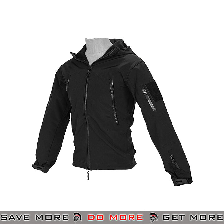 Lancer Tactical Hooded Soft Shell Jacket CA-783BS - Black, Small Jackets / Sweaters / Hoodies- ModernAirsoft.com