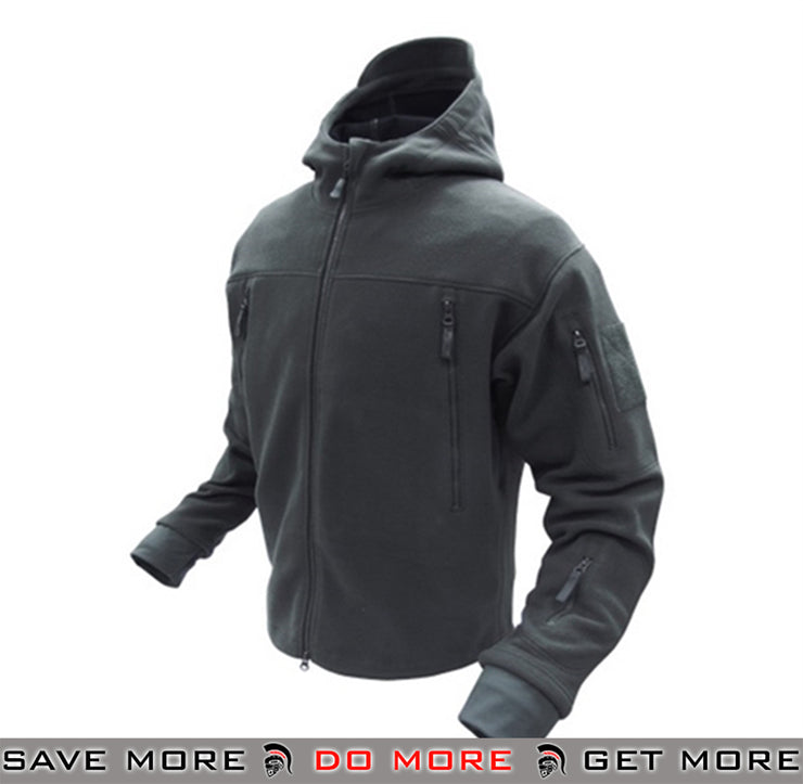 Condor Tactical Sierra Micro Fleece Jacket w/ Hood (Black / Large) Jackets / Sweaters / Hoodies- ModernAirsoft.com