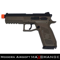MaxChange Used ASG CZ P-09 SUPPRESSOR READY GREEN GAS AIRSOFT PISTOL - FLAT DARK EARTH