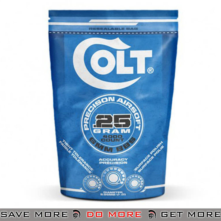 Colt Pro .20g, 5000ct, 6mm Airsoft BB's, Bag - White