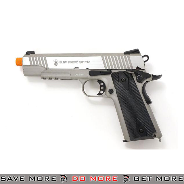 Elite Force 1911 Tactical Gen 3 CO2 Full Metal Airsoft Gas Blowback Pistol - Stainless Silver Gas Blowback Pistol- ModernAirsoft.com