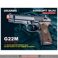 UKARMS G22M M92 Heavy Weight Metal Replica Spring Pistol - Black Air Spring Pistols- ModernAirsoft.com