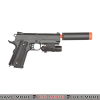 Galaxy G25A Hi Capa Heavy Weight Metal Replica Spring Pistol w/ Laser and Suppressor - Black Air Spring Pistols- ModernAirsoft.com