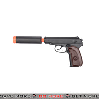 UKARMS G29A Makarov Heavy Weight Metal Replica Spring Pistol w/ Suppressor - Black / Faux Wood Air Spring Pistols- ModernAirsoft.com