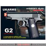 UKARMS G2 Commander Heavy Weight Metal Replica Spring Pistol - Black Air Spring Pistols- ModernAirsoft.com