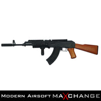 MaxChange Used AK47 ADVANCED FULL METAL REAL WOOD AIRSOFT AEG WITH GATE TITAN INSTALLED AND ZENITCO RAILS
