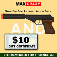 Green Gas Semi Automatic Pistol and $10 Gift Certificate - MaxCrazy