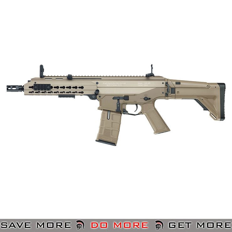 SPECIFICATIONS || MATERIAL: METAL; NYLON POLYMER MAGAZINE, PISTOL GRIP, MUZZLE, STOCK FIRING MODES: FULL-AUTO, SEMI-AUTO, SAFETY VELOCITY: 370-400 FPS (w/ 0.20 BBS) MAGAZINE: 320 ROUNDS GEARBOX: VERSION 2 (METAL) BATTERY: 9.6V NUNCHUCK (SOLD SEPARATELY) HOP-UP: ADJUSTABLE WEIGHT: 5.35 LBS LENGTH: 27.5 - 30.5 IN (EXTENDED) COLOR: BLACK  FEATURES: INCLUDES MAGAZINE, PACK OF 0.20g BBS, PAIR FLIP-UP SIGHTS, PATCH, MANUAL RECOMMENDED BATTERY 9.6V 1200mAh  (NOT INCLUDED)