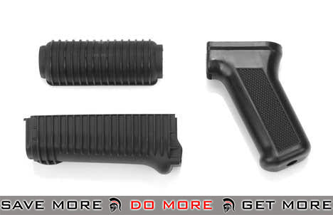 Matrix Custom Ribbed Krinkov Style Handguard Set for AK74U Series Airsoft AEG - Black *Shop by Gun Models- ModernAirsoft.com