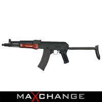 MaxChange Used LCT AIRSOFT STAMPED STEEL AK-74 FULL METAL AEG RIFLE W/ FOLDING STOCK - BLACK / WOOD