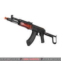 LCT Airsoft Stamped Steel AK-74 Full Metal AEG Rifle w/ Folding Stock - Black / Wood Airsoft Electric Gun- ModernAirsoft.com