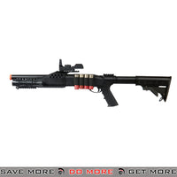 UKARMS Tri Shot Shell Loading RIS Shotgun M180C2 - Retractable Stock, Faux Red Dot, Flashlight Airsoft Shotguns- ModernAirsoft.com