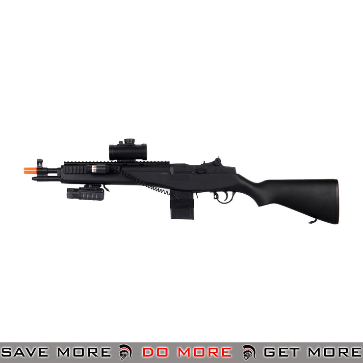 Double Eagle M305P M14 SOCOM RIS Airsoft Spring Power Rifle w/ Scope, Flashlight, Laser Air Spring Rifles- ModernAirsoft.com