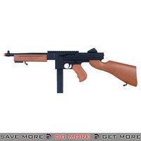 Double Eagle M306F M1A1 Thompson Tommy Gun RIS Airsoft Spring Power Rifle w/ Imitation Wood Air Spring Rifles- ModernAirsoft.com