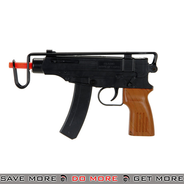 UKARMS Polymer Skorpion Replica Spring Pistol M309B - Black, Faux Wood Air Spring Pistols- ModernAirsoft.com