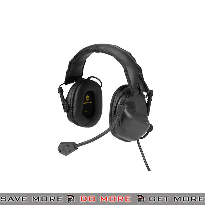 OPSMEN Earmor Electronic Tactical Sound Amplifying Hearing Protection Earmuffs w/ AUX Input M32-BK - Black Head - Headsets- ModernAirsoft.com