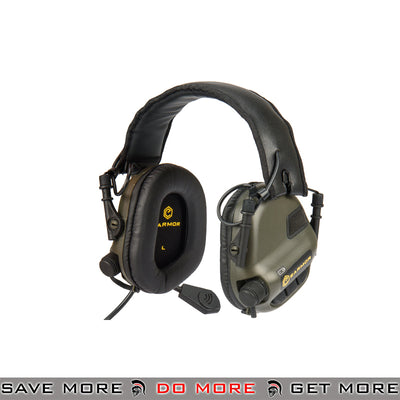 OPSMEN Earmor Electronic Tactical Sound Amplifying Hearing Protection Earmuffs w/ AUX Input M32-FG - Foliage Green Head - Headsets- ModernAirsoft.com