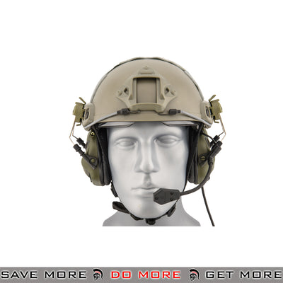OPSMEN Earmor Helmet Mounted Electronic Tactical Sound Amplifying Hearing Protection Earmuffs w/ AUX Input M32H-FG - Foliage Green Head - Headsets- ModernAirsoft.com