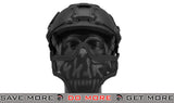 "6mmProShop ""Striker V1"" Iron Face Mesh Lower Half Mask for Use with Bump Helmets - Black with Skull"